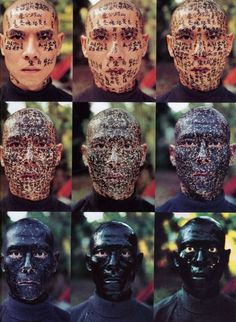 I invited 3 calligraphers to write texts on my face from early morning until night. [...]My face followed the daylight till it slowly darkened. I cannot tell who I am. My identity has disappeared. [...]