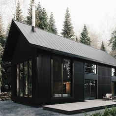 Awesome Black House Exterior Design Ideas You Definitely Like 31 Metal Building Homes, Metal Homes, Building A House, Black Building, Building Ideas, Black House Exterior, Black Barn, Modern Farmhouse Exterior, Metal Buildings