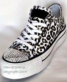 Converse Chuck Taylor® All Star® Platform in Cheetah print with Swarovski crystal details from HarrietHazelDesigns on Etsy. Saved to blingstash.