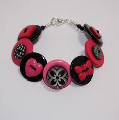 Hot pink and black button bracelet