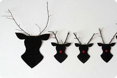 Home-made card and twig reindeer decorations