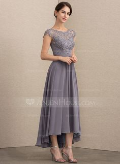 270ed226ff1   166.50  A-Line Princess Scoop Neck Asymmetrical Chiffon Lace Mother of  the Bride Dress (008164106)