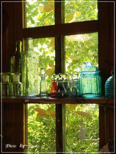 ターシャの庭 Green Windows, Old Windows, Windows And Doors, Tudor House, My House, Plant Aesthetic, Wrought Iron Gates, Witch House, Window View