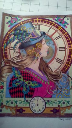 Steampunk coloring book Prisma colored pencils