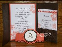 handmade wedding invitation - monogram for the belly band and pocket card for RSVP's, etc.