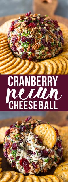 What better way to impress your family and guests this holiday season than with this festive cranberry pecan chive and garlic loaded cheese ball. This tasty Cheese Ball Recipes, Appetizer Recipes, Dinner Recipes, Thanksgiving Recipes, Holiday Recipes, Cream Cheese Ball, Christmas Cheese, Christmas Cooking, Cranberry Cheese