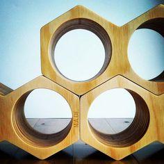 Wine Holder Geometric Honeycomb Design Timber by ManualArtsDEpt