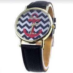 Chevron watch with Anchor Brand new watch with leather wristband. Black chevron background. Geneva Accessories Watches