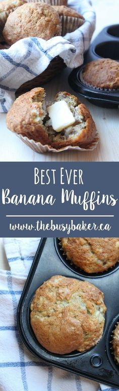 I have such fond memories of these muffins from when I was a child. My mom has a recipe book called Muffin Mania (it was published in 1982 Muffins Blueberry, Zucchini Muffins, Banana Bread Muffins, Baking Muffins, Healthy Muffins, Mini Muffins, Weight Watcher Desserts, Banana Recipes, Muffin Recipes