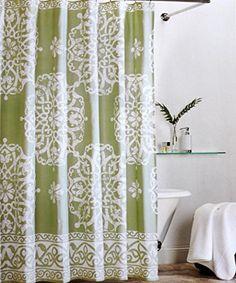 Tahari Fabric Cloth Shower Curtain Cream / Off-White Scroll Medallions on Avocado Green Tahari Home http://www.amazon.com/dp/B01419R3T6/ref=cm_sw_r_pi_dp_ArDKwb0549J1S