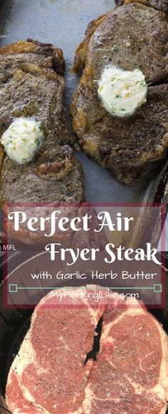 Perfect Air Fryer Steak with Garlic Herb Butter. Create the perfect steak in you Perfect Air Fryer Steak with Garlic Herb Butter. Create the perfect steak in you. Air Frier Recipes, Air Fryer Oven Recipes, Air Fryer Dinner Recipes, Power Air Fryer Recipes, Air Fryer Recipes Vegetables, Air Fryer Recipes Pork Chops, Sirloin Steak Recipes Oven, Air Fryer Recipes Chicken Wings, Air Fryer Recipes Salmon