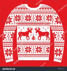 Ugly Christmas jumper or sweater with reindeer and snowflakes red and white pattern