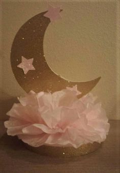 Twinkle Twinkle little star pink gold Glitter 1st Birthday party or baby shower table decor Moon and Stars Pink or Blue available