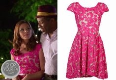 Annabeth Nass (Kaitlyn Black) wears this short sleeve pink lace dress in this week's episode of Hart of Dixie.