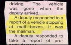 Small town paranoia!