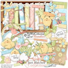 Digital scrapbooking baby chicks and card making baby chicks kit.  Spring brings the best eggs out!! FQB - Just Hatched Collection