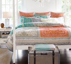 Claire Scarf Print Duvet , Full/Queen, Multi 149 cotton