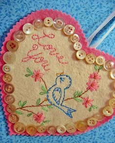 Blue Bird embroidery w/button trim <3