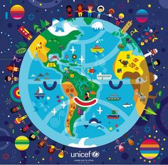 Illustration for UNICEF Puzzle.  Design and illustration: Colorblok, Inc.  Producer: Monoblock
