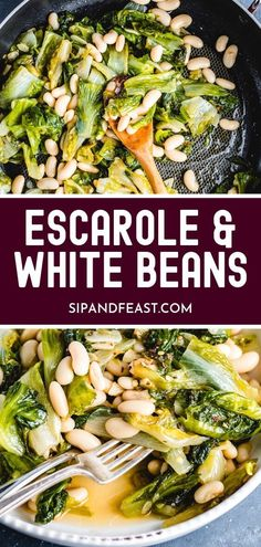 Sauteed escarole and cannellini beans is a super easy and flavorful Italian side dish recipe! Tender escarole, virgin olive oil, garlic and chili flakes combine to make a healthy and delicious vegetarian side dish that everyone will love! Italian Side Dishes, Vegetarian Side Dishes, Healthy Side Dishes, Side Dishes Easy, Vegetable Side Dishes, Side Dish Recipes, Vegetarian Recipes, Healthy Sides, Italian Vegetables