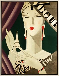 Art Deco Fashion Paris Eiffel 1920's magazine cover art poster print SKU2510