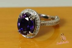 Amethyst Diamond Halo Engagement Ring