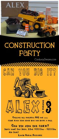 Construction Birthday {party idea} - The Creative Mom 5th Birthday Party Ideas, First Birthday Parties, Birthday Party Decorations, Boy Birthday, First Birthdays, Construction Birthday Parties, Construction Party, Digger Party, Chuggington Birthday