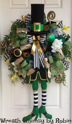 Saint Patrick's Day Leprechaun Deco Mesh Floral Wreath, Front Door Wreath, Irish Wreath, Character Wreath, St Patty's Day Decor by WreathWhimsybyRobin on Etsy