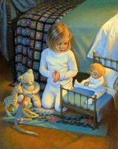 """The Lord's Blessing by Kathy Lawrence is a Christian art piece that portrays a young girl """"teaching"""" her dolls how to pray. Prayers For Children, Bless The Lord, Christian Art, Art Market, Beautiful Children, Vintage Children, Cute Kids, Illustrators, Art For Kids"""