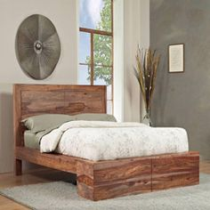 Sheesham Solid Wood California King-size Panel Bed so much want!