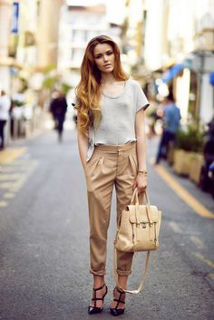 camel pants with gray shirt