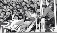 """Charlie Nicholas getting """"tackled"""" by Graham Roberts"""