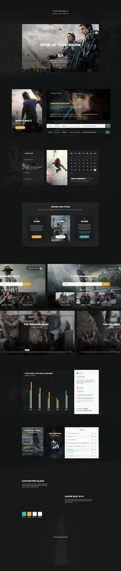 Free Movie UI kit on Behance