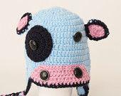 Crochet blue  Cow hat, Toddler hat ,children hat ,Newborn hat ,toddler crochet hat ,baby hat , with removable flowers
