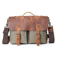 9d1acf692f Vintage Leather Messenger Bag Canvas Shoulder School Book Bag Fit For 14  inch Laptop