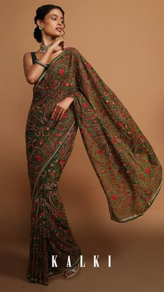 Kashmiri embroidery has evolved over centuries with influence from many cultures. The color palettes compliment the four seasons, while the designs are inspired by science and art in nature. Kashmiri embroidery is essentially a harmonious blend of charming flowers, fruits, and birds. Just imagine the serene beauty and world famous kaarigari to start with. . Sky Blue Saree, Purple Saree, Green Saree, Bridal Sari, Indian Bridal Sarees, Wedding Sari, Baby Pink Saree, Off White Saree, Peach Saree