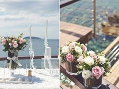 Blush pink wedding flowers within a Greek scenery at the Athens Riviera by www.StyleConcept.gr   ροζ-διακοσμηση-γαμου