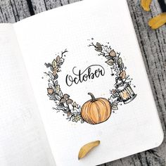 This bullet journal idea for October is super cute. I recreated this idea in my bullet journal and it is such an adorable idea :) Bullet Journal Cover Page, Bullet Journal 2019, Bullet Journal Notebook, Bullet Journal Inspo, Bullet Journal Spread, Bullet Journal Layout, Journal Covers, Bullet Journal October Theme, Autumn Bullet Journal