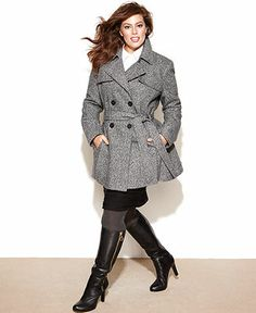 Dollhouse Plus Size Coat, Double-Breasted Military Pea Coat - Plus ...