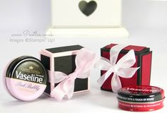 Pootles' Vaseline Gift Box Tutorial using Stampin' Up! Colours