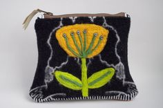 Wool Handbag with Needle Felted Flower - Zippered Pouch by cstreetstudio