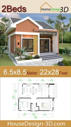 Small House Plans Meter Feet 2 Bedrooms Gable roof - Small House Plans Meter Feet 2 Bedrooms Gable roof The House has: -Car Parking and garden -Living room, -Dining room -Kitchen Bedrooms, 1 bathroom -washing room Source by morehouseplansidea - Small House Floor Plans, Simple House Plans, My House Plans, Modern House Plans, Small Home Plans, Micro House Plans, Simple Floor Plans, Modern Small House Design, Simple House Design