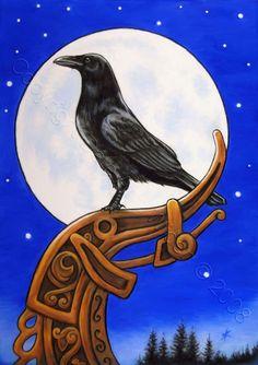 Raven Nordic Moon Fine Art Print by DeLaRenaissance