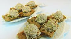 Betty demonstrates how to make Tuna Canapes. These make a great snack or a light lunch. Light Lunch Tuna Canapes cans of tuna fish, packed in wat. Top Recipes, Great Recipes, Favorite Recipes, How To Make Tuna, Romesco Sauce Recipe, Appetizer Dips, Daily Meals, Canapes, Vintage Recipes