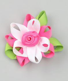 Pink & Green Posh Flower Clip | zulily