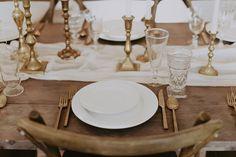 Crisp + Neutral Head Tablescape from The Copper Quail Warm Colour Palette, Warm Colors, Quail, Autumn Wedding, Event Venues, Candlesticks, Wedding Table, Tablescapes, Crisp