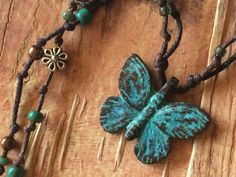 """Butterfly Cast Necklace Flower Verdigris Aged Copper Teal Beads Knotted Cord 23""""  