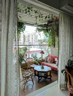 indian home decor Decor Inspiration All Around On One Brick At A Time Small Balcony Design, Small Balcony Decor, Balcony Ideas, Modern Balcony, Balcony Decoration, Balcony Plants, Small Balcony Garden, Outdoor Balcony, Outdoor Decor