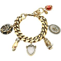 Alexander McQueen Charms Bracelet (€1.085) ❤ liked on Polyvore featuring jewelry, bracelets, multicolor, charm bracelet bangle, lobster claw clasp charms, lobster clasp charms, charm jewelry and alexander mcqueen