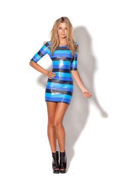 Blue Blue Black 3/4 Sleeve Dress